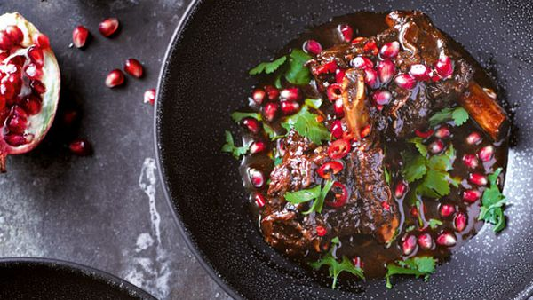 Annie Rigg's beef short ribs braised in pomegranate