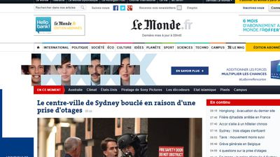 The Sydney siege was also top news in France.