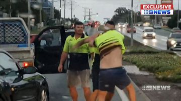 Tradies punch driver to the ground in terrifying road rage attack