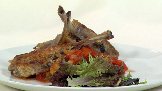 Parmesan crusted lamb cutlets with ratatouille