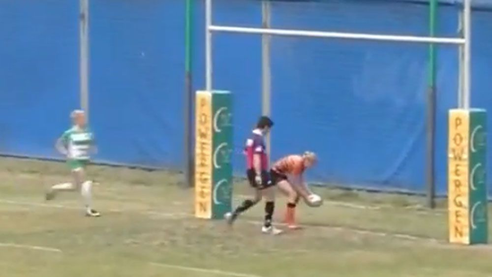 Rugby player blows certain try