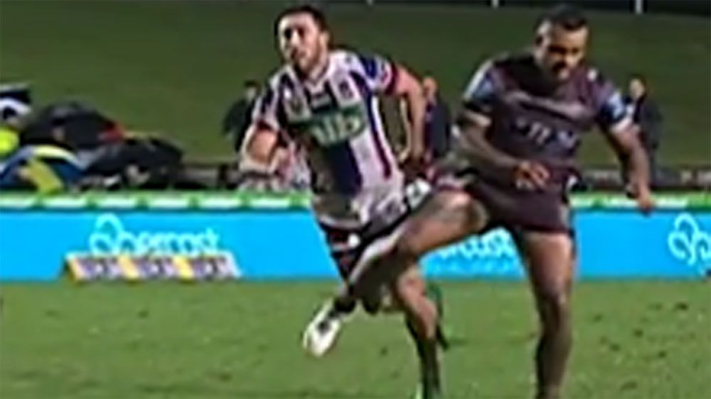 Manly forward Fonua-Blake trips Brock Lamb in victory over Newcastle Knights