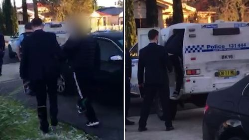 Police arrested the alleged ringleader, a 32-year-old man, at a home on Oxford Street in Bankstown. Picture: NSW Police