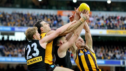 Hawthorn looked home midway through the final quarter with a 29-point lead, before having to withstand a late Port surge. (AAP)