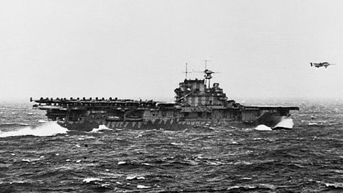 The USS Hornet in combat during World War II.