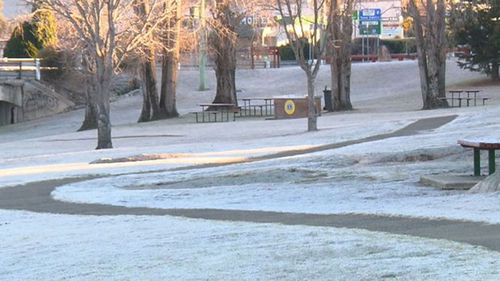 Areas in Sydney's west saw the mercury fall into the negative as New South Wales bore the brunt of the cold. Picture: 9NEWS.
