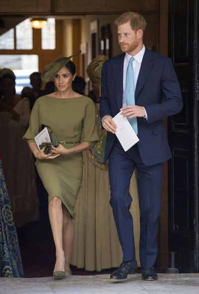 The Duchess of Sussex in Ralph Lauren at the royal christening of Prince Louis, London, July, 2018
