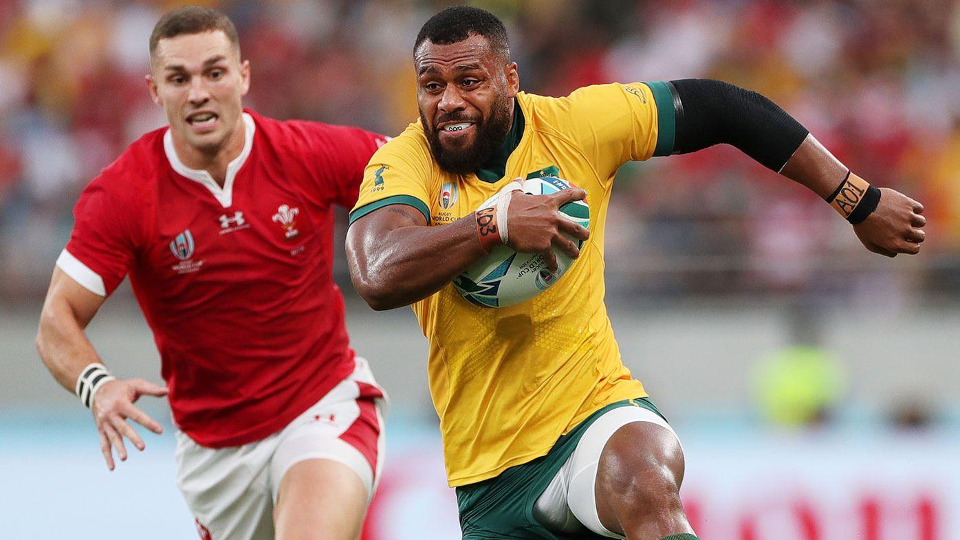 Samu Kerevi of Australia runs with the ball