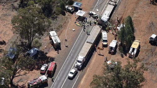 Seven vehicles were involved in the collision.  (9NEWS)