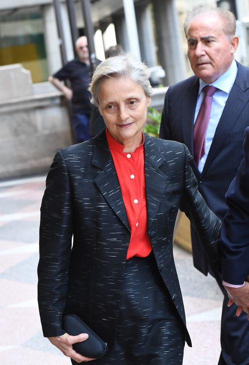 Marilyn Bodnar arrives at the Downing Centre Court today. (AAP)
