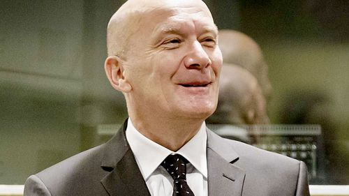 Jadranko Prlic, former Prime Minister of the Croatian Republic of Herzeg-Bosnia, stands in the court in The Hague. (AAP)