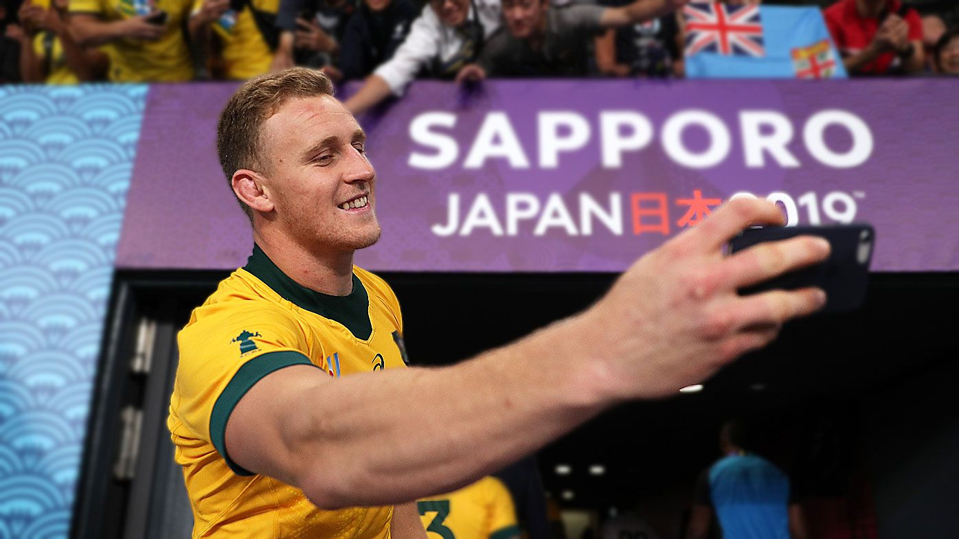 Reece Hodge of Australia takes a selfie after the Rugby World Cup 2019