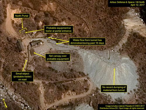 A satellite image of the Punggye-ri nuclear test site in North Korea. (AP)