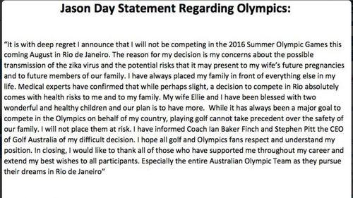 Jason Day's full statement (Twitter)