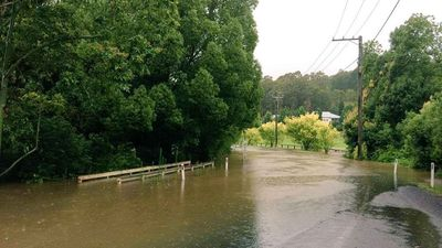 A flooded road in Yarramalong near Wyong. (Nathan Berger)