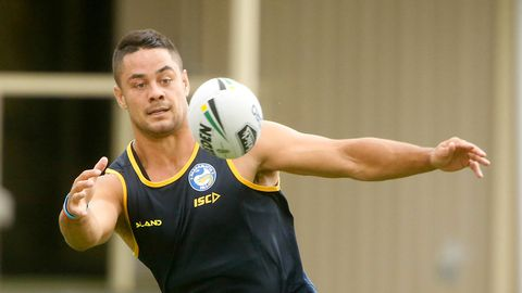 Jarryd Hayne is seen at Parramatta eels training