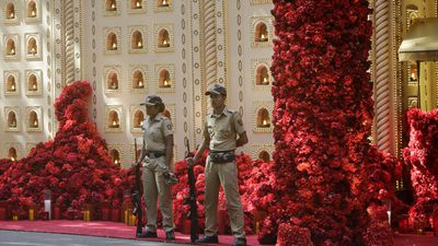 Police guard the Ambani estate
