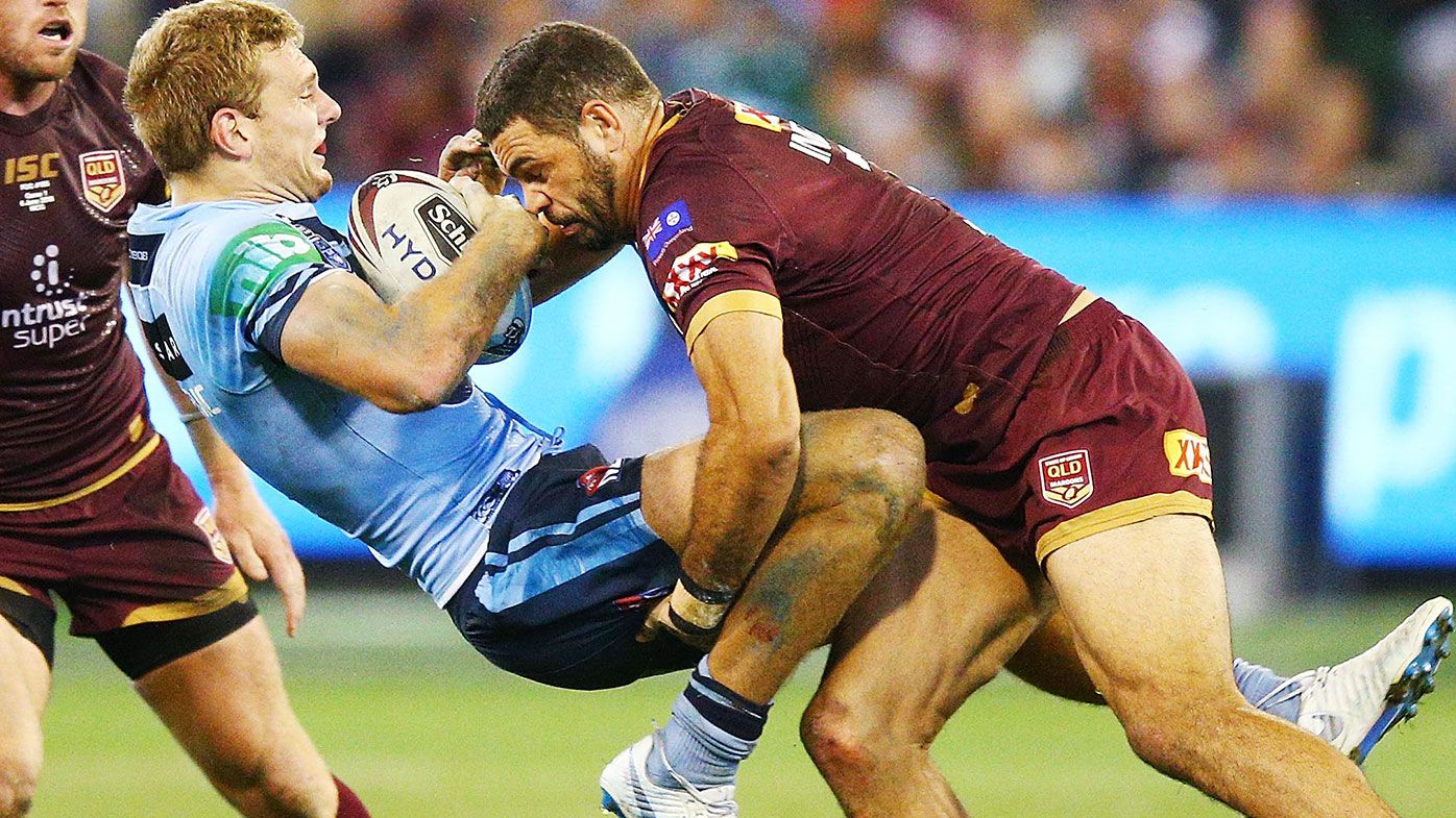 Sparks fly in State of Origin opener following brutal Greg Inglis hit on Tom Trbojevic