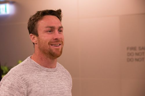 Sharks star James Maloney front the meeting. (AAP)