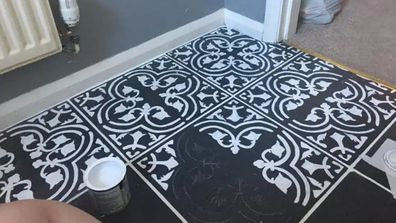 Woman completely transforms bathroom tiles with stunning paint job