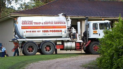 A septic service truck is at a property in the NSW mid-north coast as police investigate the disappearance of William Tyrell. (9NEWS)