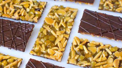"""Recipe:<a href=""""http://kitchen.nine.com.au/2017/08/11/11/32/chocolate-orange-and-cumin-florentine"""" target=""""_top"""" draggable=""""false"""">Chocolate, orange and cumin florentine</a>"""