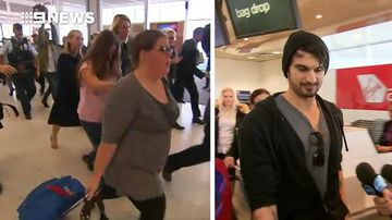Cassie Sainsbury's family and fiancé arrive back in Australia