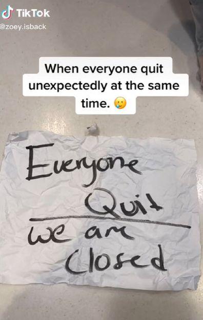 McDonalds employee walk out note