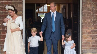 Prince William at the christening of Prince Louis, July 2018