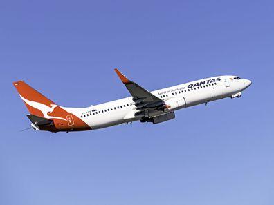 Qantas plane in the sky