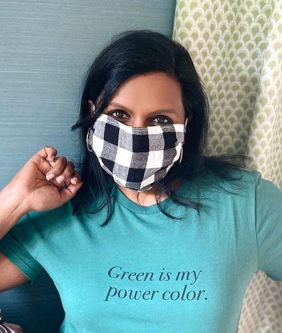 Celebrities, wearing face masks, coronavirus pandemic, Mindy Kaling