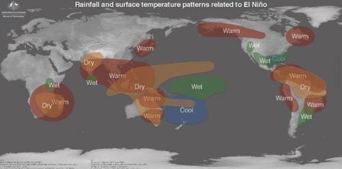 Global effects of the 2015-16 El Nino. Picture: Bureau of Meteorology