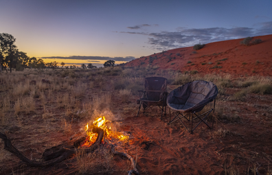 Campfire in the Australian outback