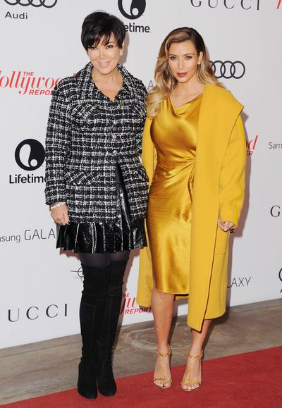 Kris Jenner and Kim Kardashian West  in Max Mara, at the Hollywood Reporter's 22nd Annual Women In Entertainment Breakfast in Beverly Hills, December, 2013