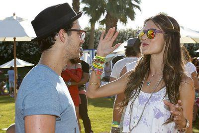 Jonas Brother Joe mingles with Victoria's Secret model Alessandra Ambrosio.