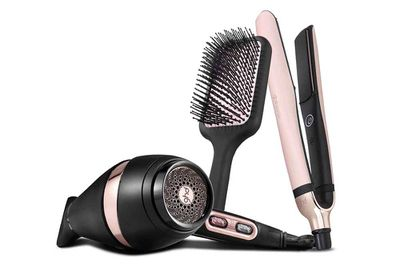 """ghd's vintage pink collection in support of the National Breast Cancer Foundation:<a href=""""http://www.ghdhair.com/au/ghd-pink"""" target=""""_blank""""> platinum straightener, $325; air hairdryer, $200 and paddlebrush, $34</a>.&nbsp;"""