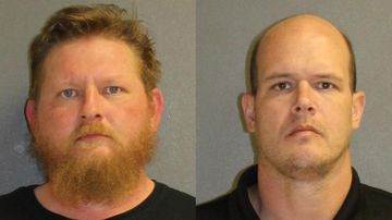 Lafe Best (left) and Benjamin Worster are accused of trying to groom and rape a 3-year-old girl. Picture: Volusia County Sheriff's Office/Facebook