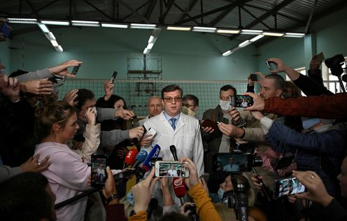 Alexander Murakhovsky speaks with the media in Omsk, Russia on August 21, 2020.