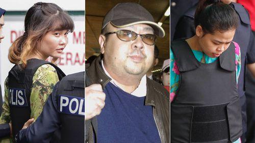 Doan Thi Huong. far left, and Siti Aisyah are accused of murdering Kim Jong Nam. (Photos: AP).