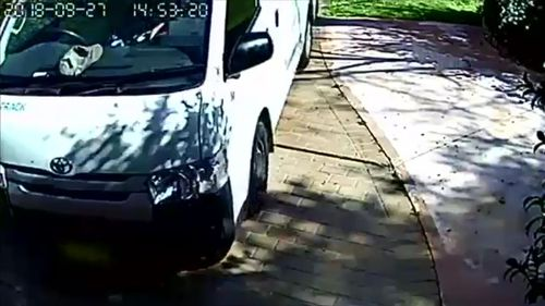 A delivery driver has been caught on camera letting his van roll into a garage door.