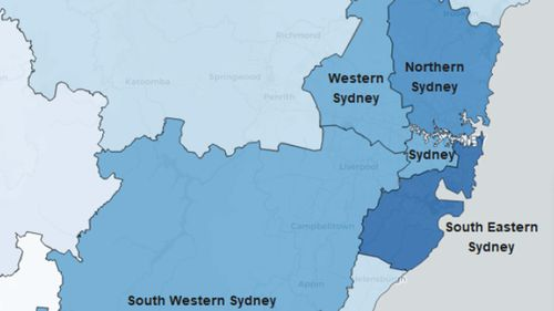 COVID-19 cases across Sydney metropolitan region by local health district