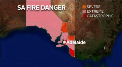 The fire danger map in South Australia for today features only one state below 'severe' and several at 'catastrophic'. (Supplied)