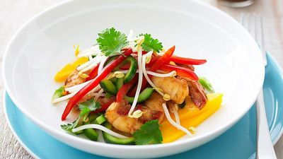 "Recipe:&nbsp;<a href=""http://kitchen.nine.com.au/2016/05/16/19/32/mango-and-prawn-salad"" target=""_top"">Mango and prawn salad</a>"