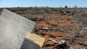 Documents laid over AAP photo of Australian drought