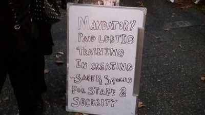 Signs are out at the Newtown anti-transphobia rally, Mitch Feltscheer captioned this picture on Twitter. (@mitchfel)