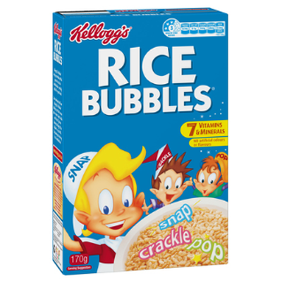 <strong>Rice Bubbles (8.7 grams of sugar per 100 grams)</strong>