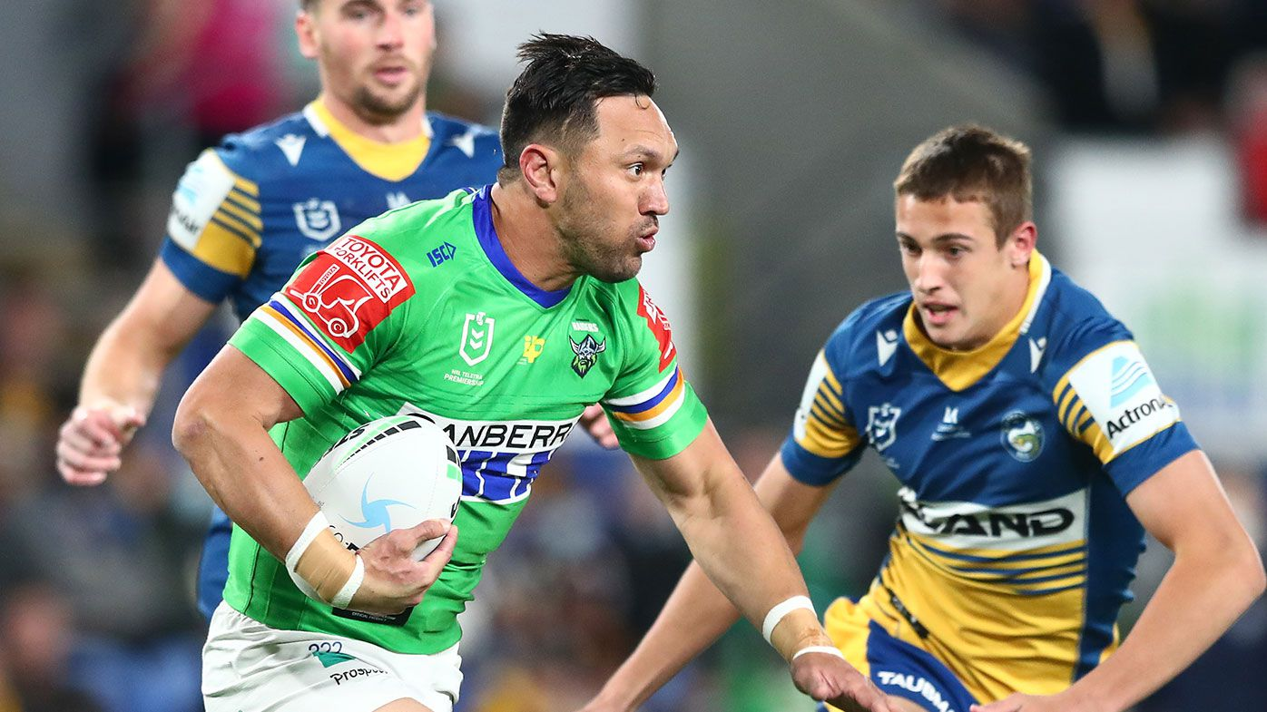 Jordan Rapana of the Raiders runs the ball during the round 19 NRL match between the Parramatta Eels and the Canberra Raiders at Cbus Super Stadium, on July 22, 2021, in Gold Coast, Australia. (Photo by Chris Hyde/Getty Images)