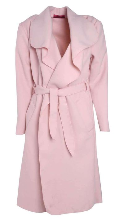 "<p><a href=""http://www.boohoo.com"" target=""_blank"">Kate Belted Shawl Collar Coat, $50, Boohoo.com</a></p><p> </p>"