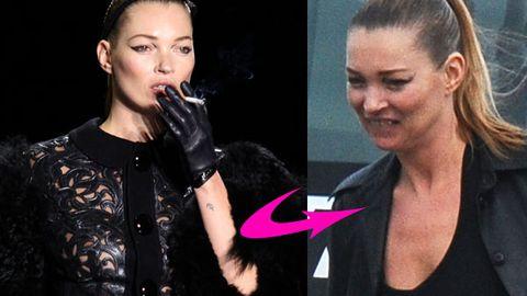 Kate Moss smoking at Paris Fashion Week