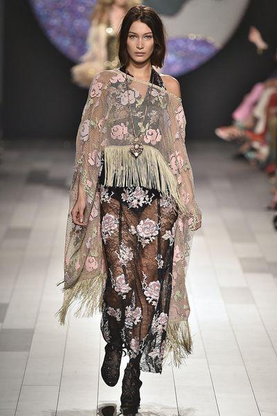 Bella Hadid in Anna Sui,New York Fashion Week spring '18, September 2017.